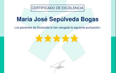 María José Sepúlveda Bogas ha sido premiada con el Certificado por Excelencia en Doctoralia 2020